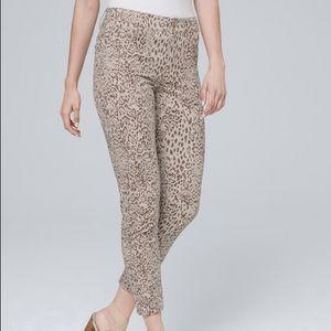 WHBM Tan Leopard Print Denim Skinny Crop Sz 12L 12